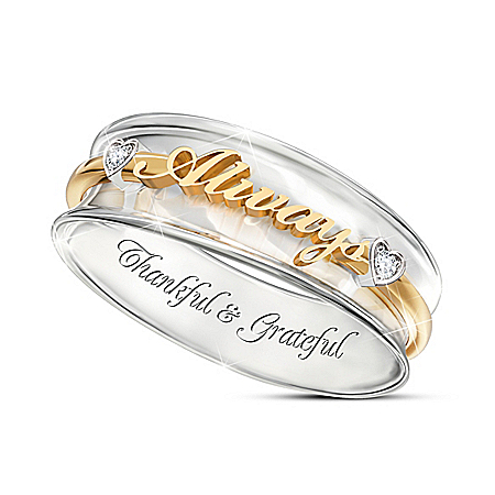 White Topaz Spinning Ring With 18K-Gold Plating