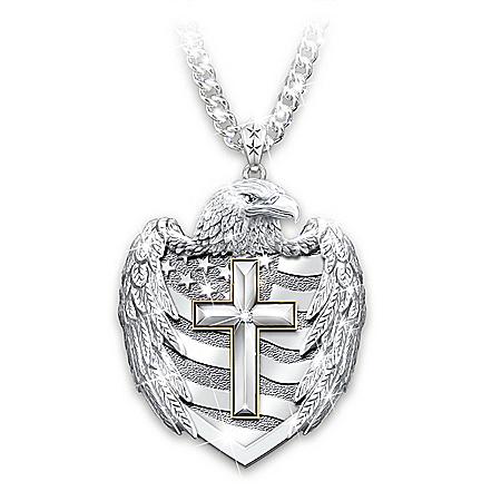 One Nation Under God Diamond Shield Pendant Necklace