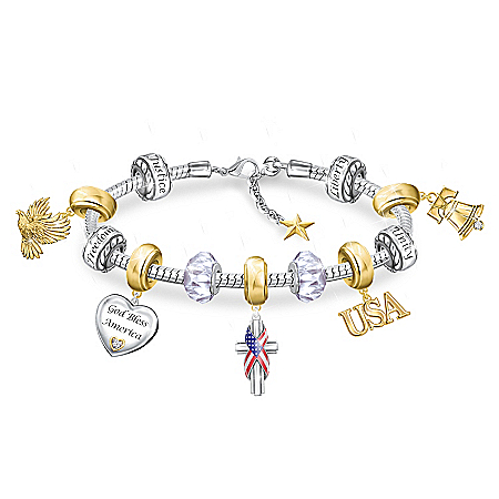 God Bless America Charm Bracelet With 11 Individual Charms