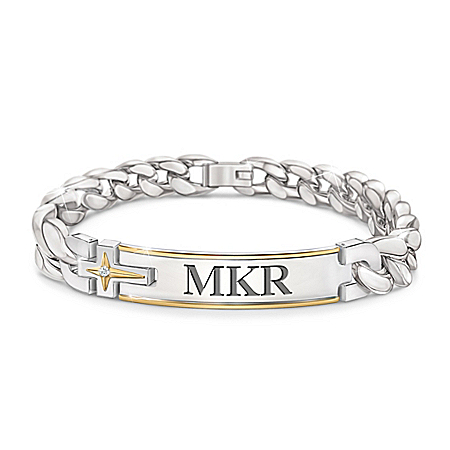 Strength Of Faith For My Grandson Stainless Steel Curb Link Bracelet Featuring A Personalized ID-Style Plate & Adorned With 24K