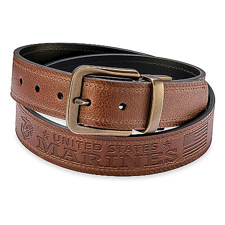 U.S. Marine Corps Pride Men's 2-In-1 Reversible Leather Belt