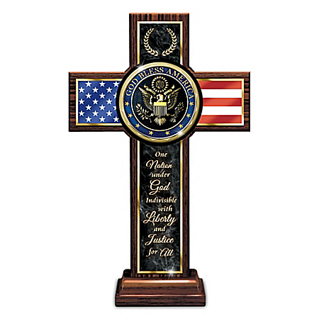 One Nation Under God Wooden Cross With Metal Medallion