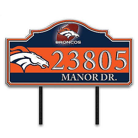 Denver Broncos Personalized Outdoor Address Sign