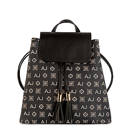 Convertible Backpack With Your Initials In Designer Pattern
