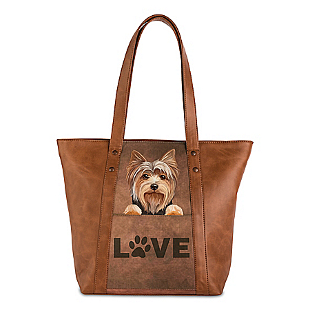 Peek-A-Boo Pup Faux Leather Tote Bag: Choose Your Breed