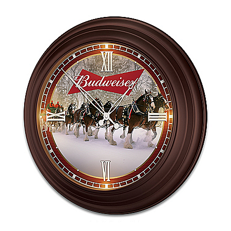 Budweiser Illuminated Atomic Wall Clock With Clydesdale Art