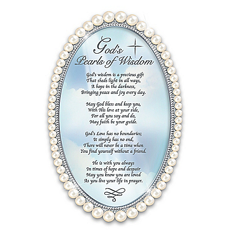 God's Pearls Of Wisdom Faux Pearl-Framed Poem