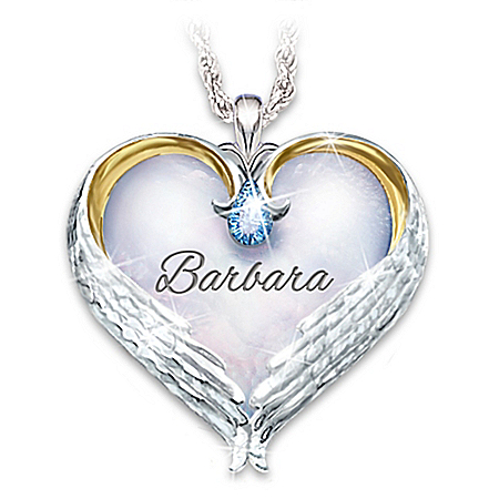 Always In My Heart Women's Personalized Heart-Shaped Sterling Silver Remembrance Pendant Necklace Adorned With 18K Gold-Plated A