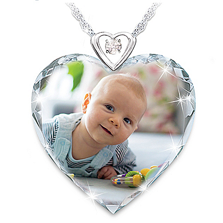 Picture Perfect Women's Personalized Photo Upload Diamond Pendant Necklace Featuring A Heart-Shaped Faceted Crystal & Diamond Ac