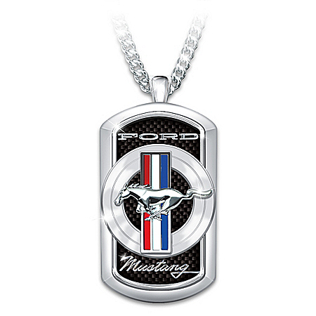 Ford Mustang Dog Tag Pendant Necklace With Pony Logo