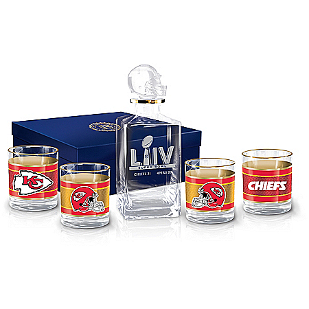 Kansas City Chiefs Super Bowl LIV Champions NFL Glass Decanter Set