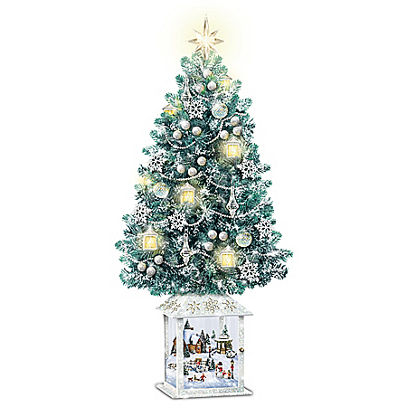 Thomas Kinkade Christmas Tree With Swirling Snowflake Lights