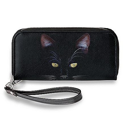 MystiCool Women's Wristlet Wallet With Cat Art