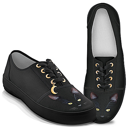MystiCool Cat Canvas Shoes With Gold-Toned Moon Charm