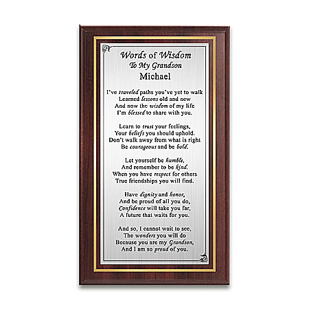 Words Of Wisdom Wall Decor Personalized With Grandson's Name