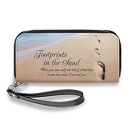 Footprints In The Sand Wristlet Wallet