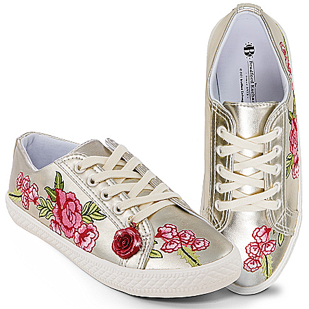 Rose In Bloom Embroidered Faux Leather Women's Sneakers