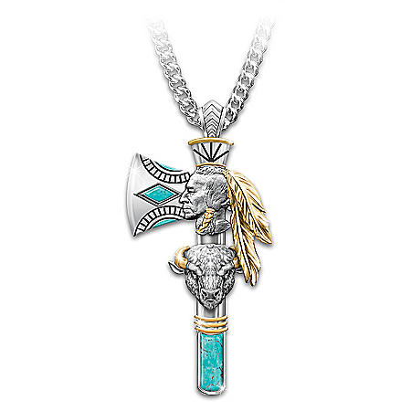 Pride Of The West Turquoise Inlay Men's Pendant Necklace