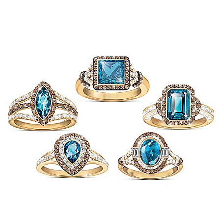 London Blue Topaz Women's Gemstone Ring: Choice Of 5 Designs