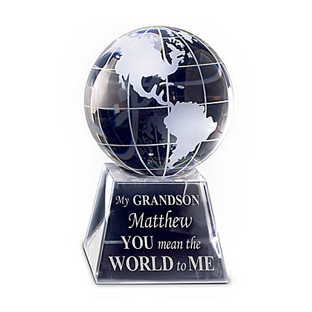 Optical Crystal Globe Personalized With Grandson's Name