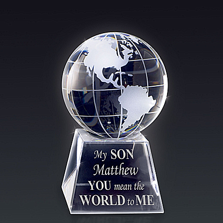 Optical Crystal Globe Personalized With Your Son's Name