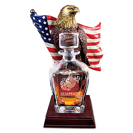 U.S. Marine Corps Pride Decanter With American Eagle Stand
