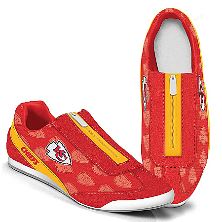 Kansas City Chiefs Logo-Pattern Zipper Canvas Sneakers