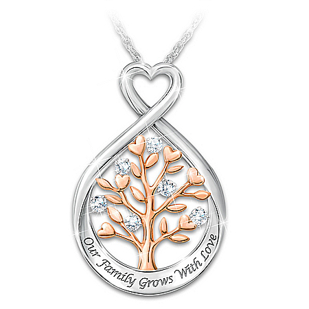Our Family Tree Women's Personalized Sterling Silver Pendant Necklace Featuring 6 Diamonds & Adorned With 18K Rose Gold-Plated A