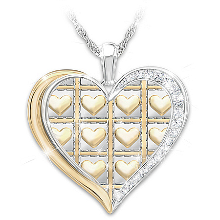 Bushel & A Peck Women's Personalized Heart-Shaped Sterling Silver Plated Pendant Necklace Featuring 11 Swarovski Crystals & Ador