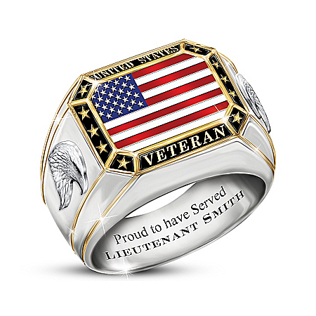 United States Veteran Men's Personalized Sterling Silver Ring With 18K Gold-Plated Accents Featuring A Patriotic American Flag &