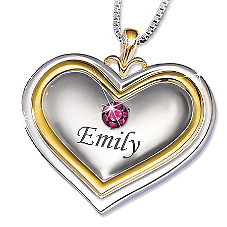A Bushel & A Peck Heart-Shaped Granddaughter Personalized Birthstone Pendant Necklace With 18K Gold-Plated Accents – Personalize