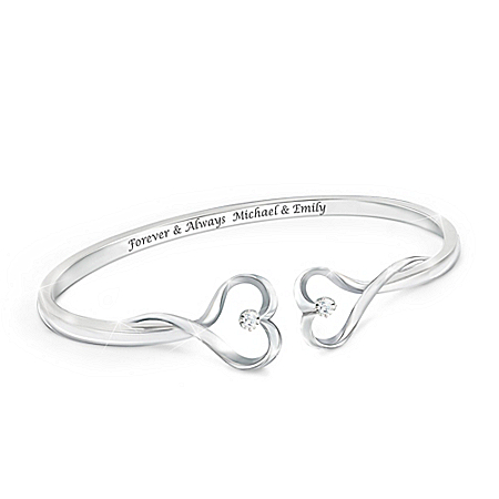 Forever & Always Sterling Silver Plated Personalized Bracelet Featuring An Open Bangle Design With 2 Sculpted Hearts Each Set Wi