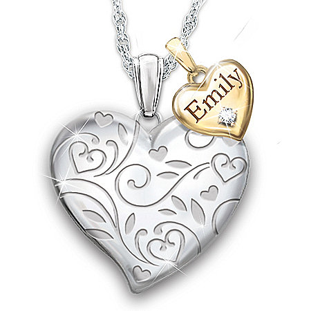 A Bushel & A Peck Women's Personalized Heart-Shaped Diamond Pendant Necklace Featuring A Floral Filigree Design & Adorned With 1