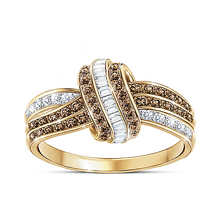 Mochaccino Twist 18K Gold-Plated Ring With 76 Diamonds