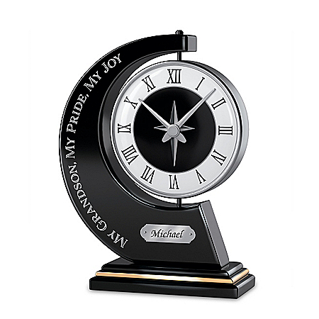 Personalized Rotating Clock For Grandson With Blessing