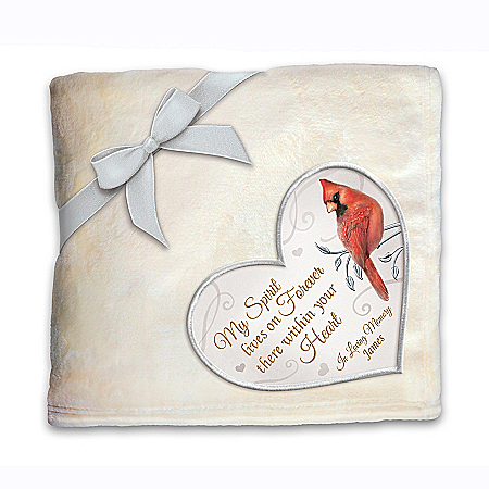 Personalized Remembrance Cardinal Plush Throw Blanket