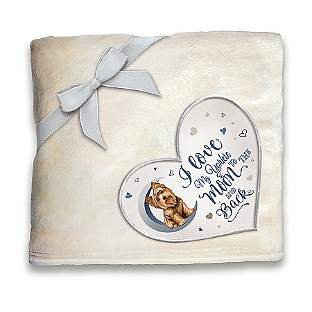Yorkie Plush Blanket With Heart-Shaped Applique