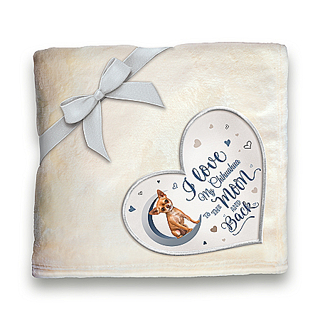 Chihuahua Plush Blanket With Heart-Shaped Applique