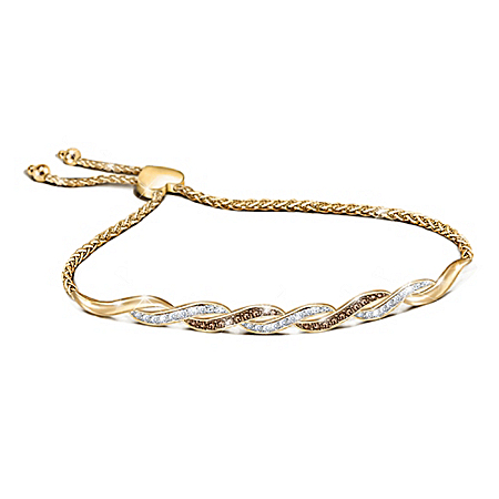 18K Gold-Plated Bolo Bracelet With White & Mocha Diamonds