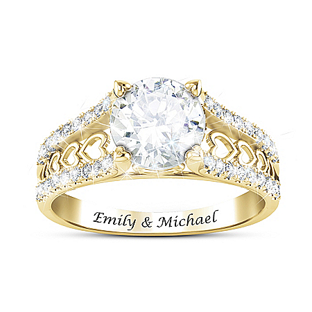 One Love Women's Personalized 18K Gold-Plated White Topaz Ring By Designer Alfred Durante Featuring Heart-Shaped Accents – Perso