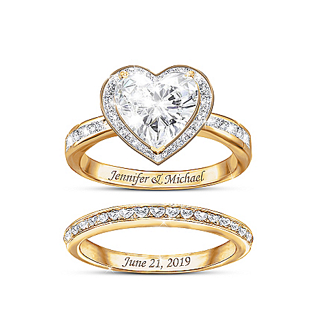 Surrounded By Love Women's Personalized 18K Gold-Plated Bridal Ring Set Featuring Over 2 Carats Of Heart-Shaped Simulated Diamon