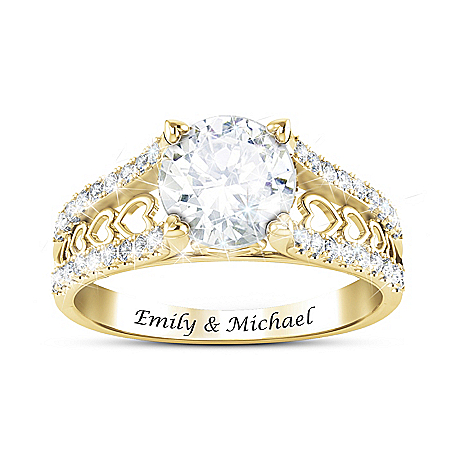 Alfred Durante One Love Women's Personalized Ring Featuring Row After Row Of Open Hearts Along The Band With Over Two Carats Of
