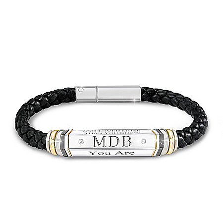 Words To Live By Braided Black Leather Bracelet Featuring A 6-Sided Bead That Rotates To Reveal Personalized Initials Adorned Wi