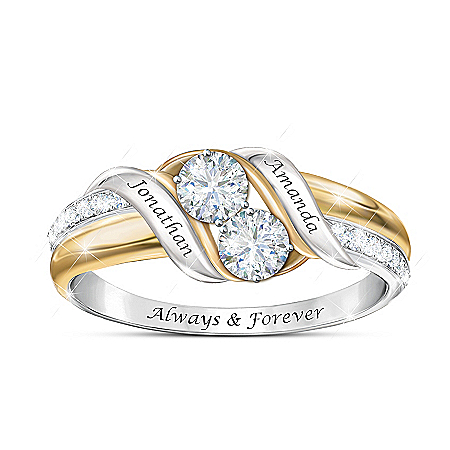 Loving Embrace Women's Personalized Sterling Silver Ring Featuring Over 1/2 Carat Of Moissanite & 18K Gold-Plated Accents – Pers