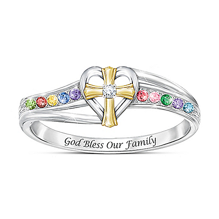 My Blessed Family Women's Sterling Silver Personalized Birthstone And Diamond Ring Featuring An 18K Gold-Plated Sculpted Religio