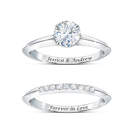 True Love Personalized Women's Platinum Plated Bridal Ring Set With 1 Engagement Ring & 1 Wedding Band Featuring Over 1 Carat Of