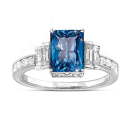 Majestic Beauty Blue Helenite Ring