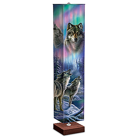 James Meger Floor Lamp With Wolf Art On 4-Sided Fabric Shade
