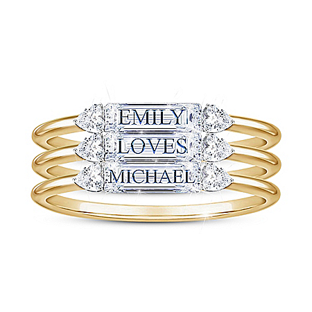 Built On Love Women's Personalized 18K Gold-Plated Stacking Ring Set Featuring Over 1 Carat Diamonesk Simulated Diamonds – Perso