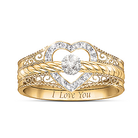 I Love You 18K-Gold Plated Diamond Stacking Ring Set